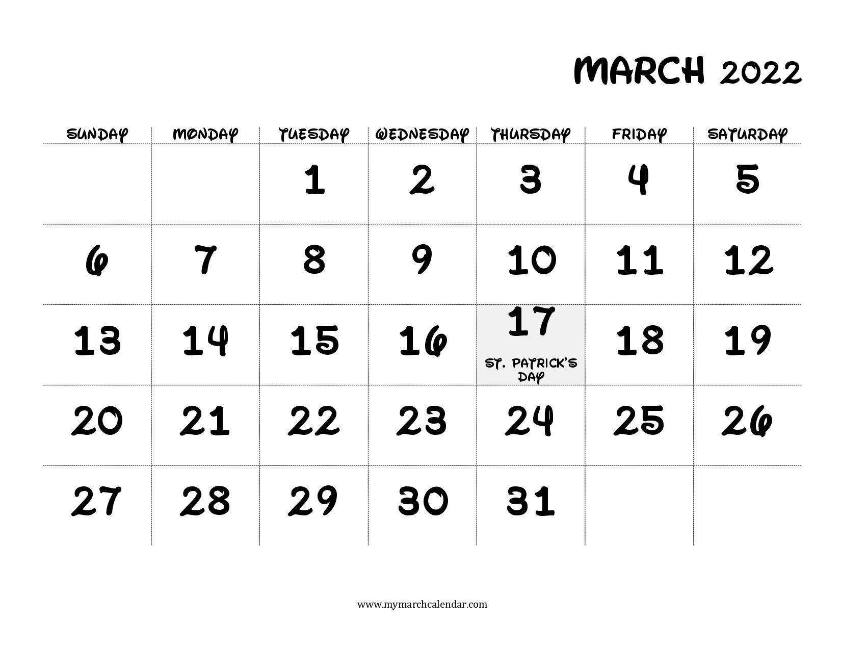 30+ March 2022 Calendar, March 2022 Blank Calendar