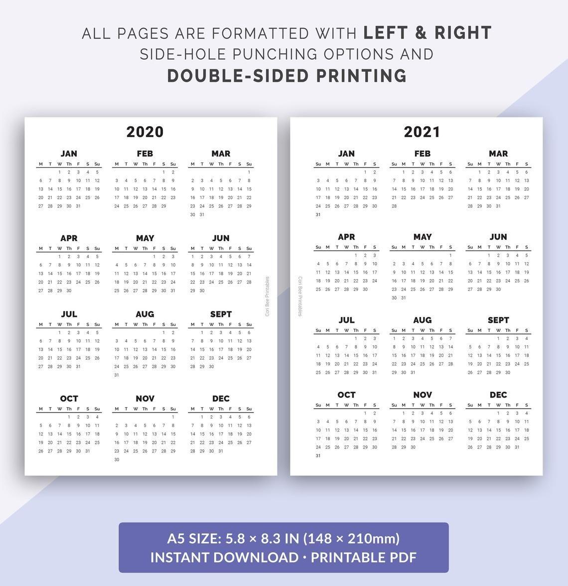 A5 2020-2021-2022 Calendar Yearly Calendar Year At A