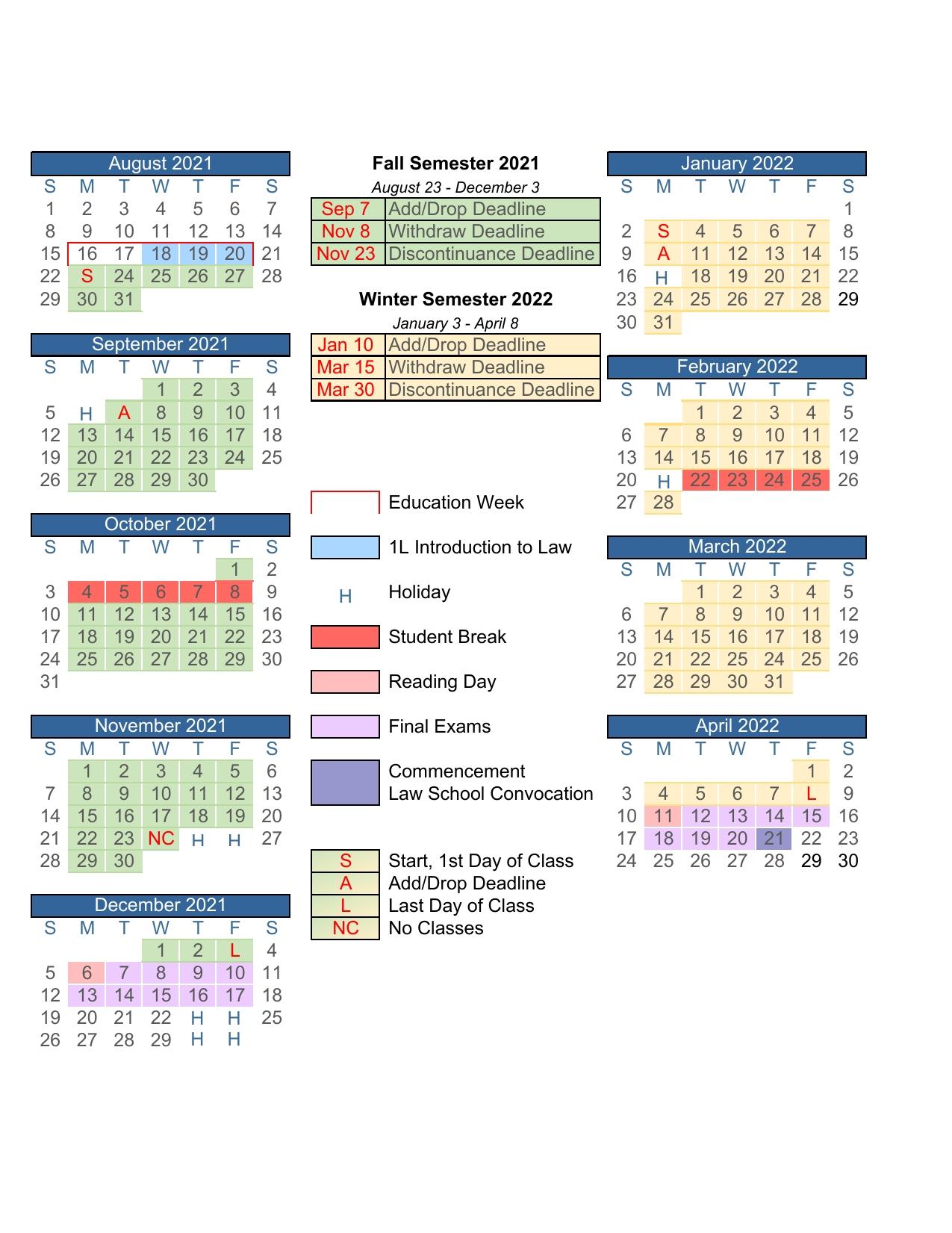 Academic Calendar - Byu J. Reuben Clark Law School