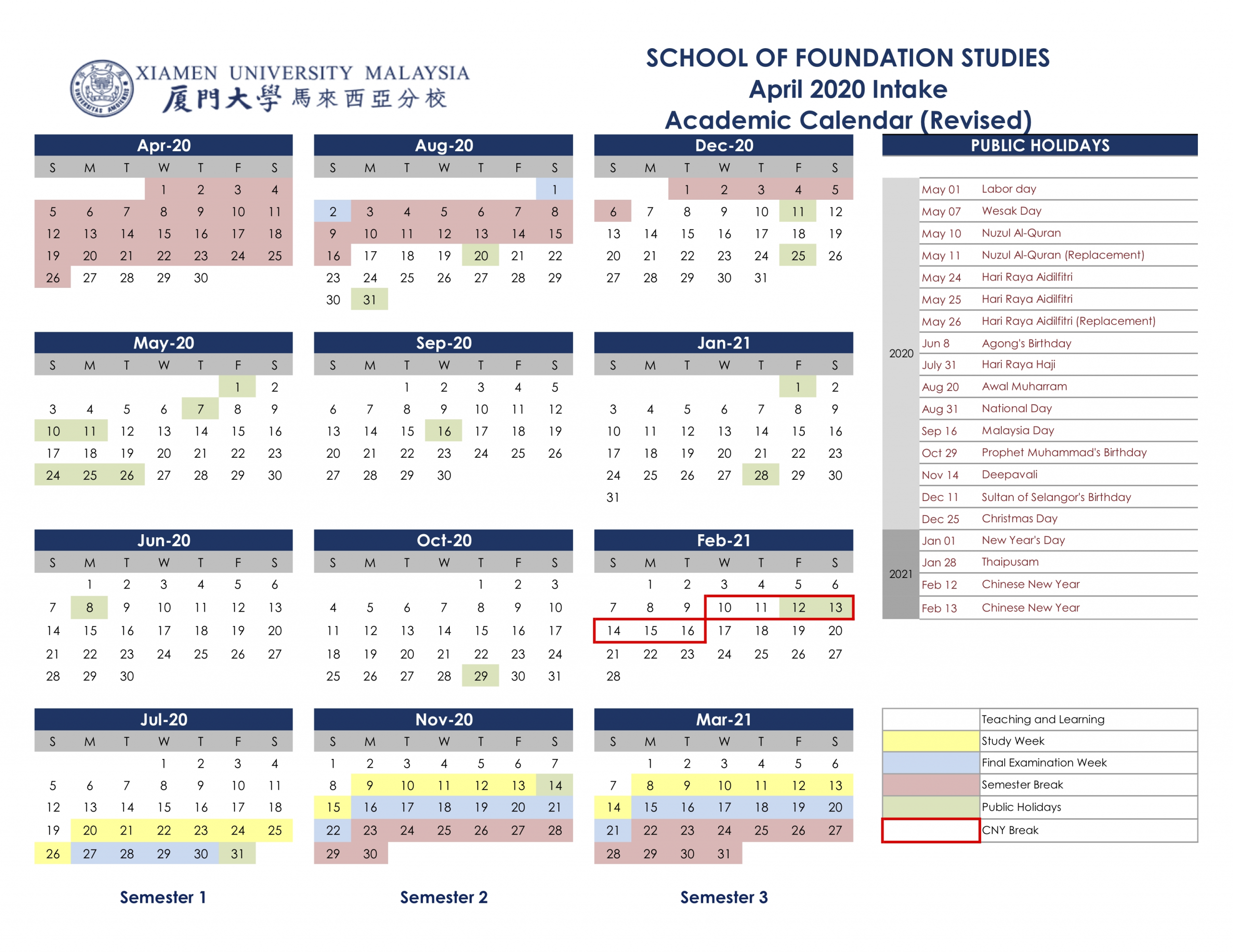 Academic Calendar & Courses