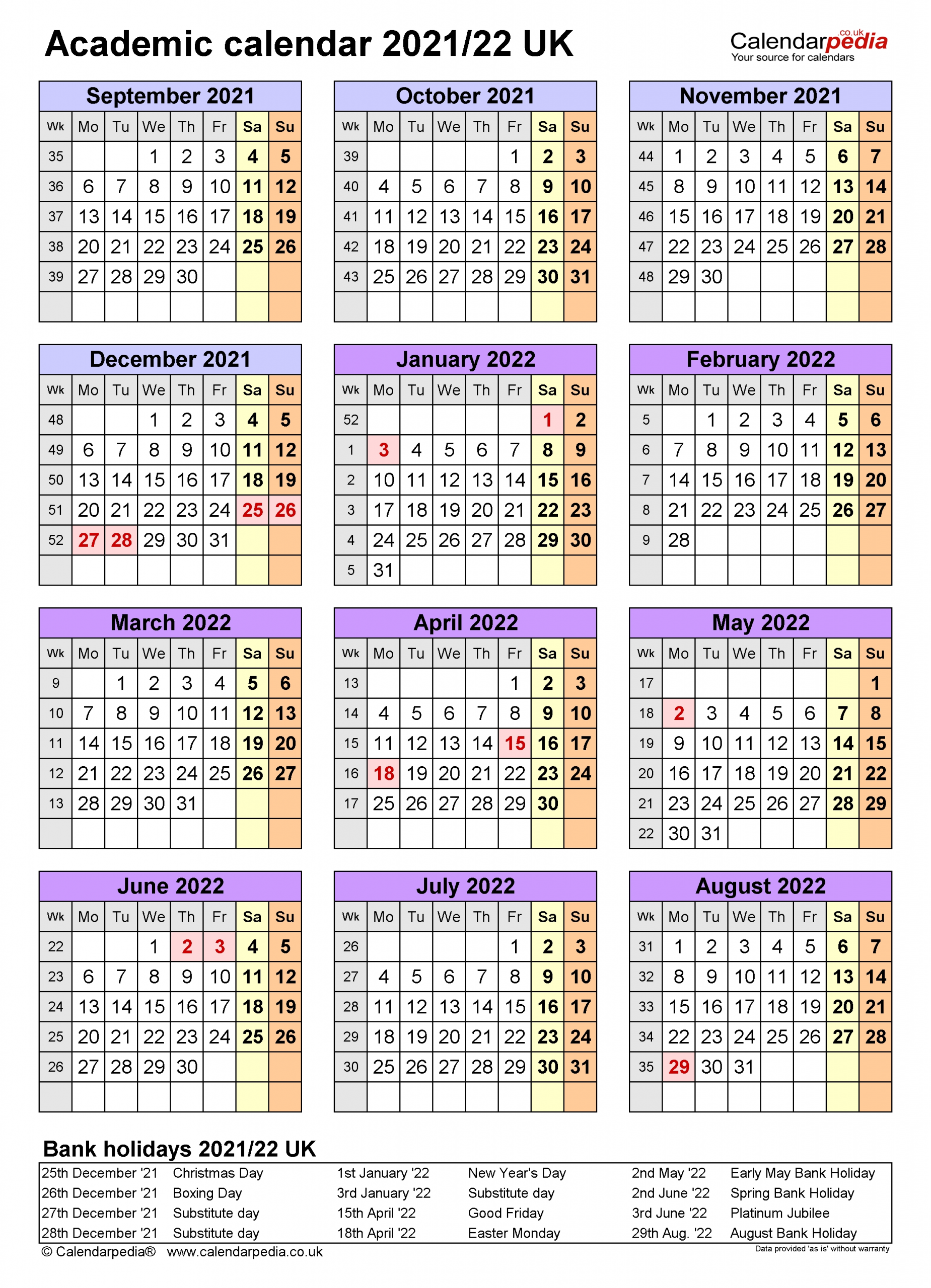 Academic Calendars 2021/22 Uk - Free Printable Excel Templates