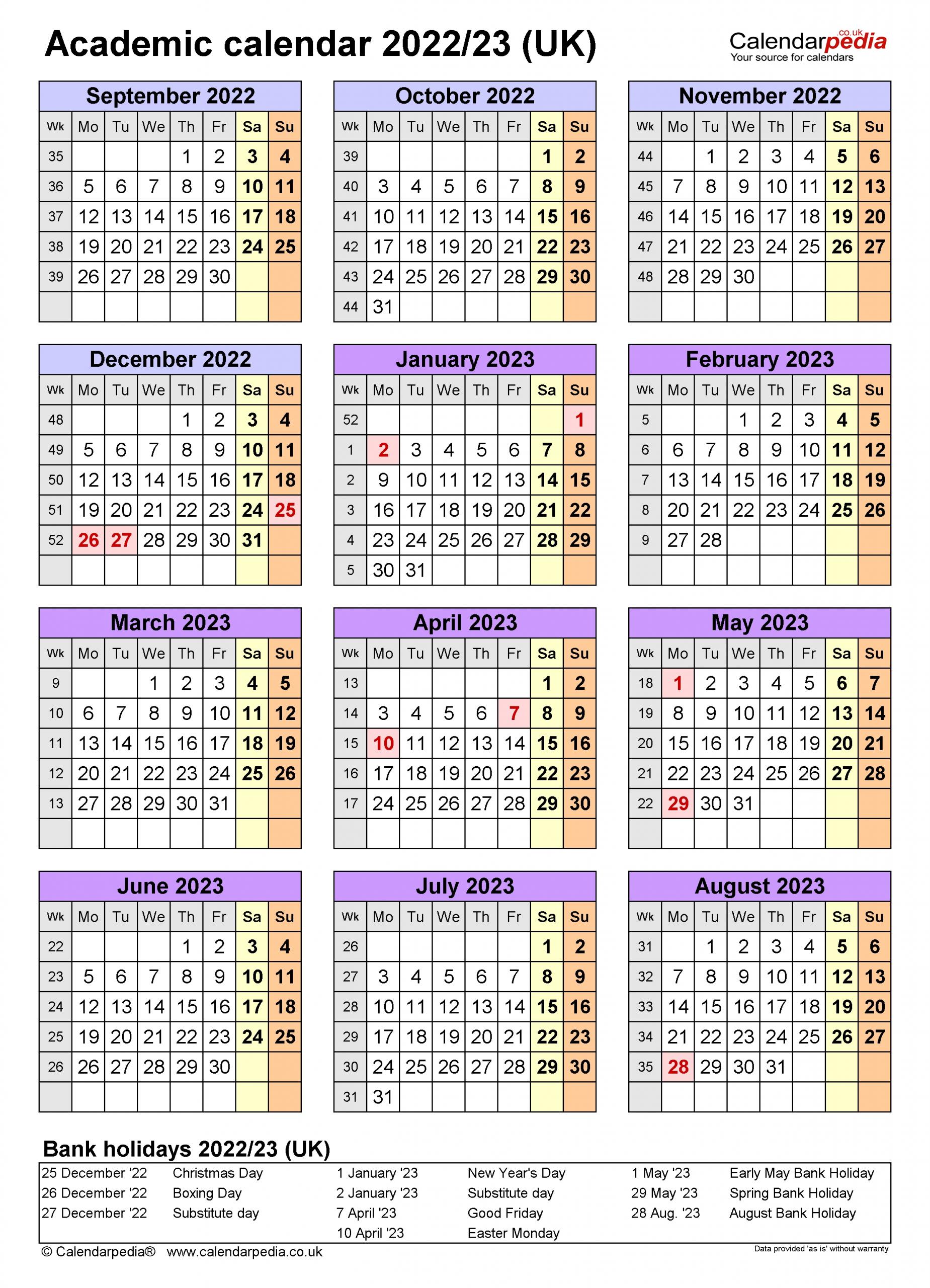 Academic Calendars 2022/23 Uk - Free Printable Excel Templates
