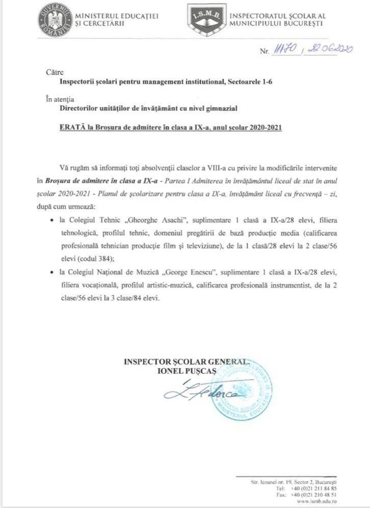 """Admitere - Colegiul Național De Muzică """"George Enescu"""""""