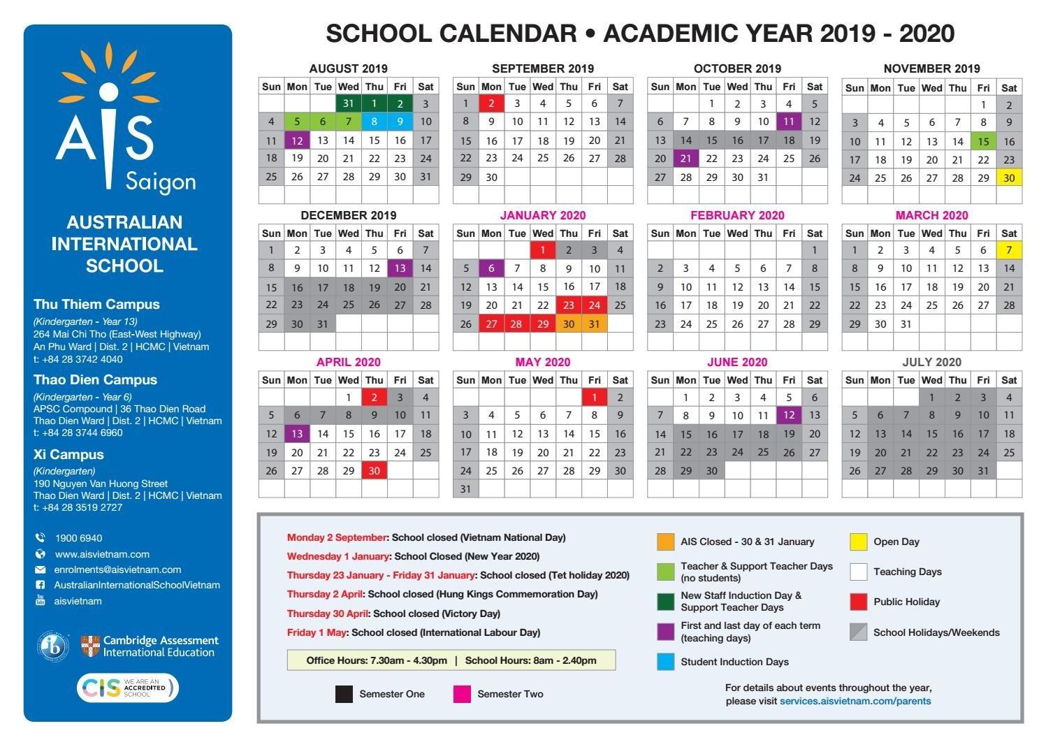Ais School Calendar 2019-2020 By Acg Schools - Issuu