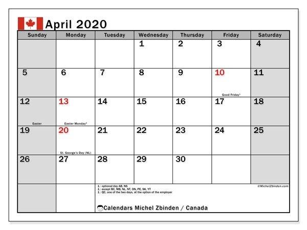April 2020 Calendar | Calvert Giving