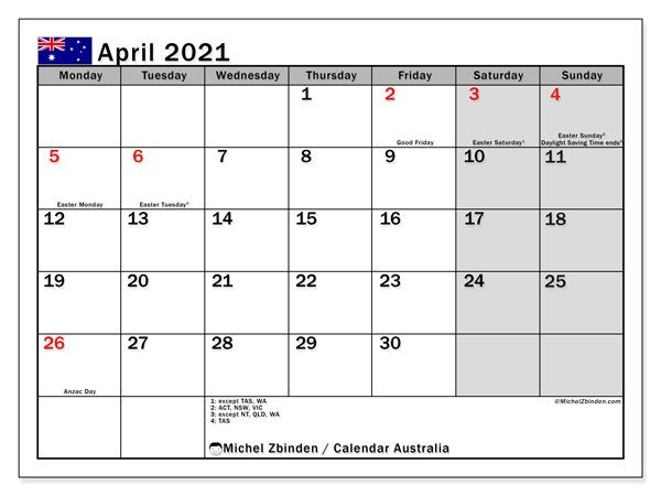 April 2021 Calendar, Australia - Michel Zbinden En