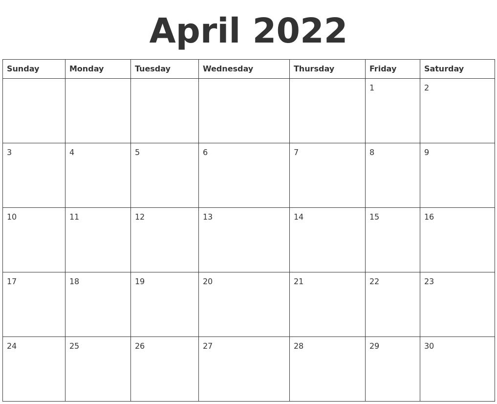 April 2022 Blank Calendar Template