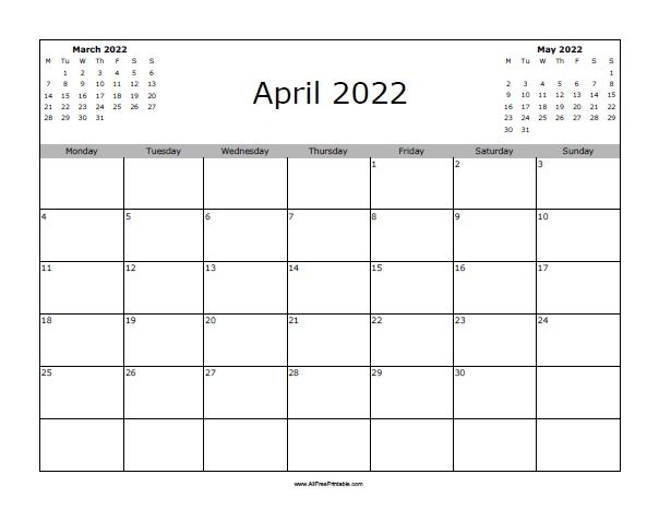 April 2022 Calendar   Allfreeprintable