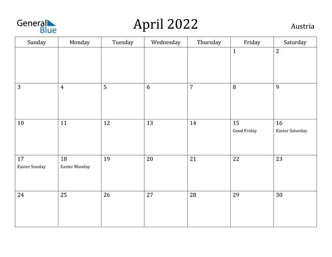 April 2022 Calendar - Austria