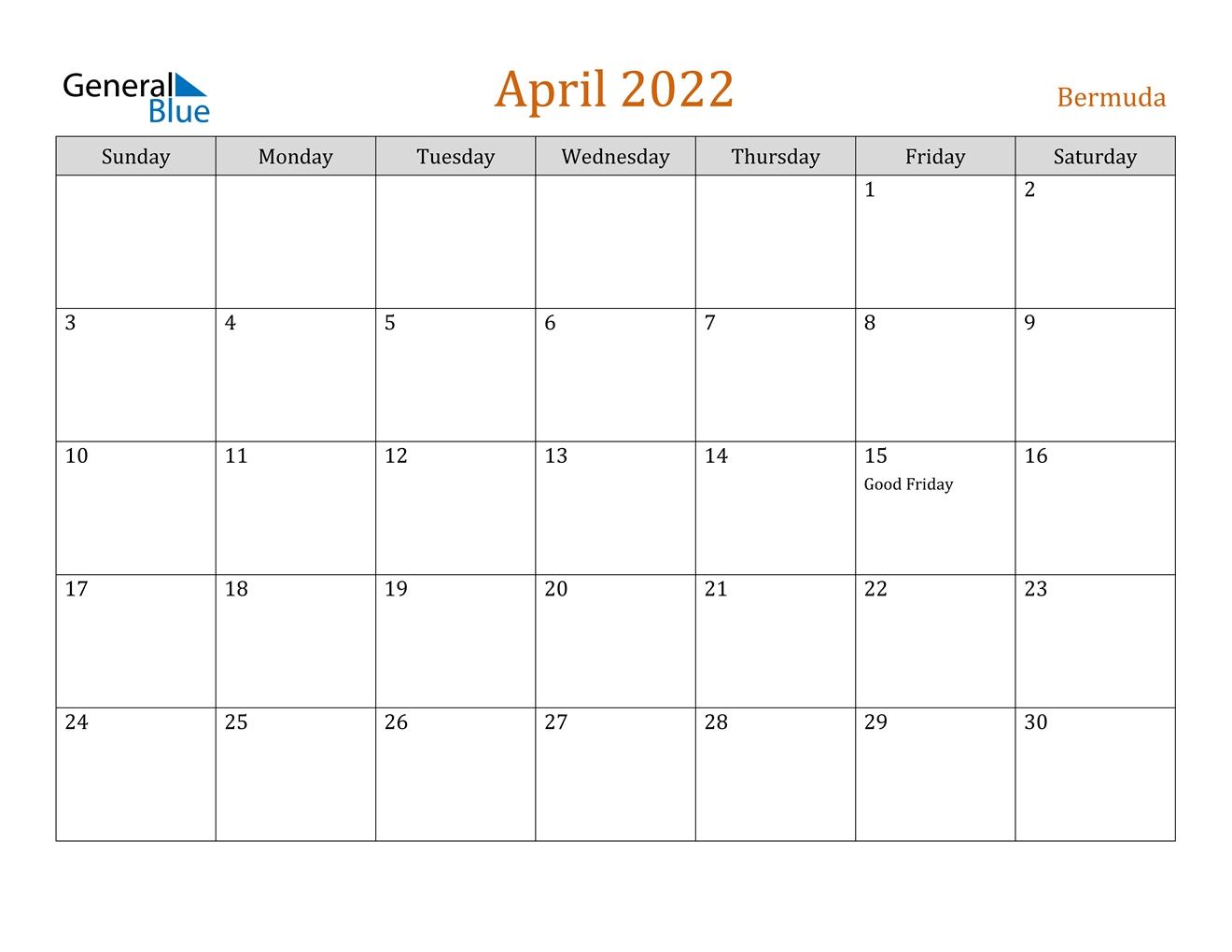 April 2022 Calendar - Bermuda
