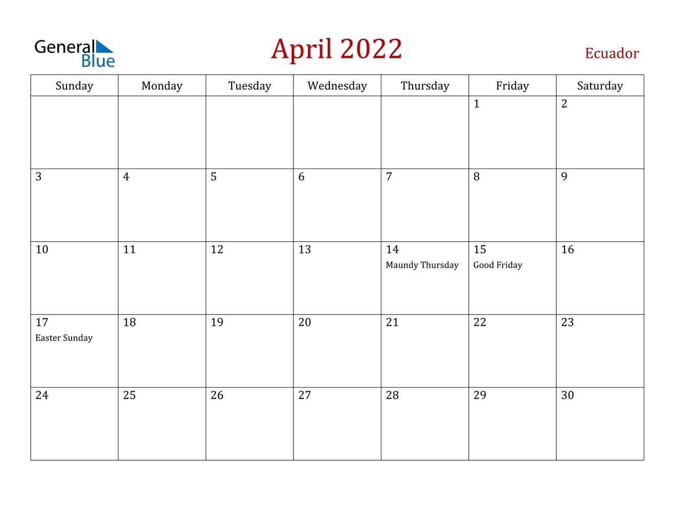 April 2022 Calendar - Ecuador