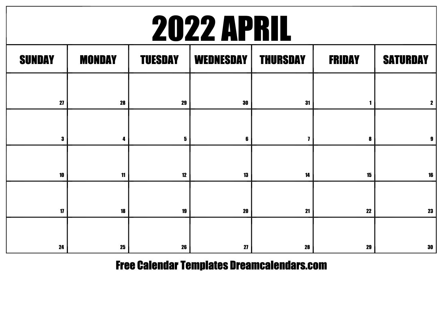 April 2022 Calendar | Free Blank Printable Templates