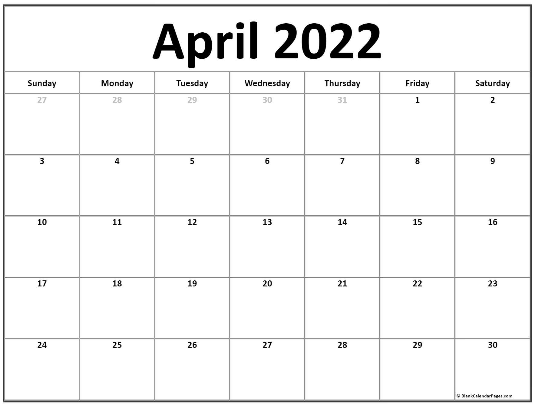April 2022 Calendar | Free Printable Calendar Templates