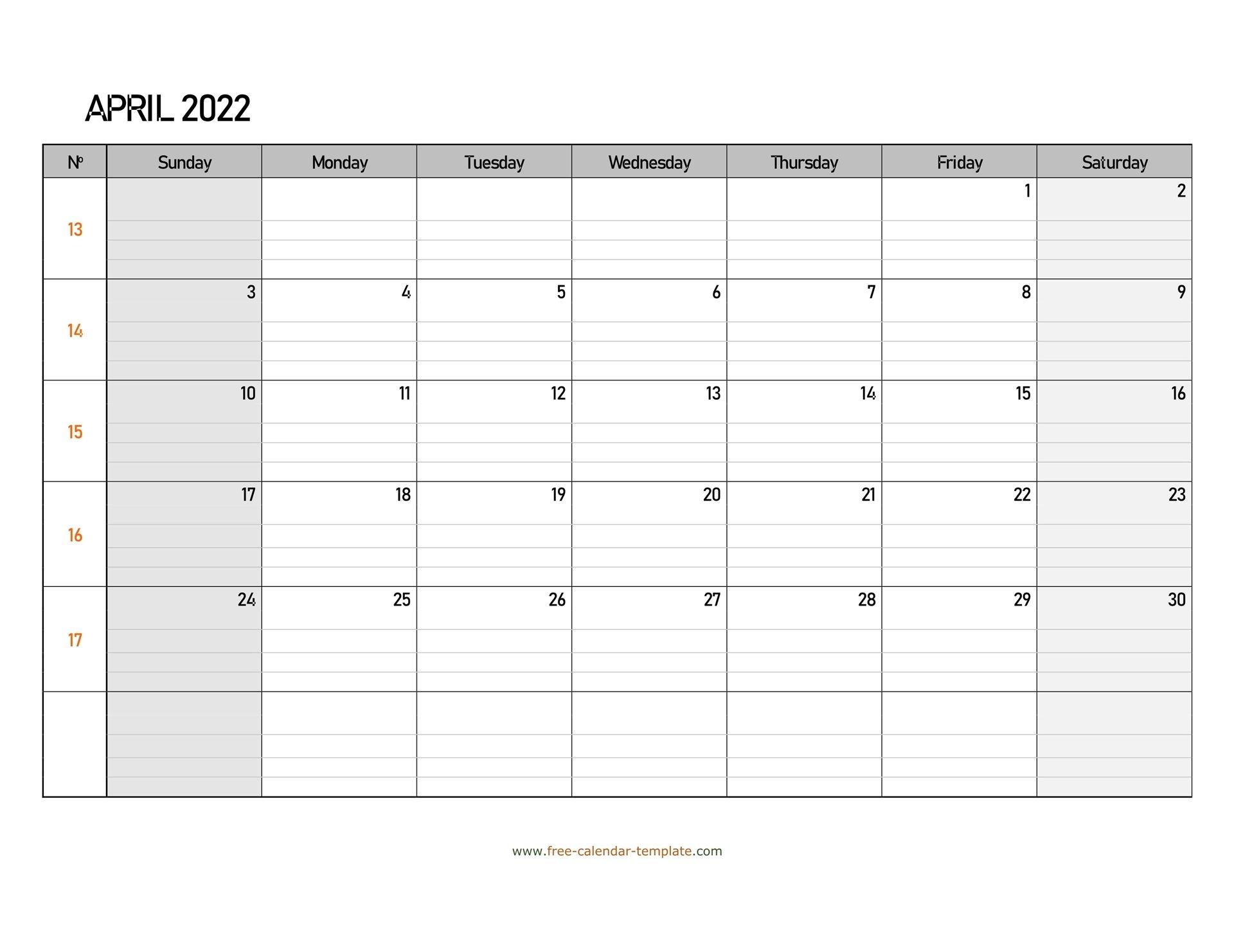 April 2022 Calendar Free Printable With Grid Lines
