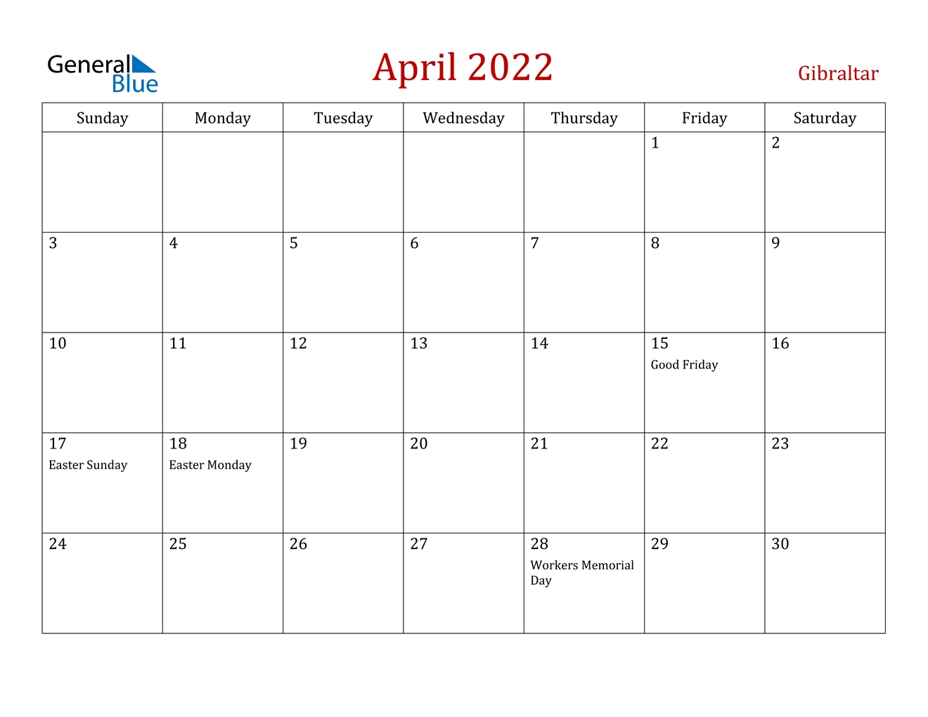 April 2022 Calendar - Gibraltar