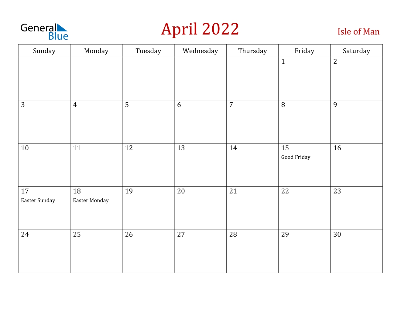 April 2022 Calendar - Isle Of Man