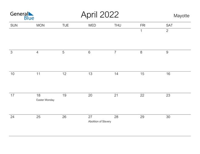 April 2022 Calendar - Mayotte
