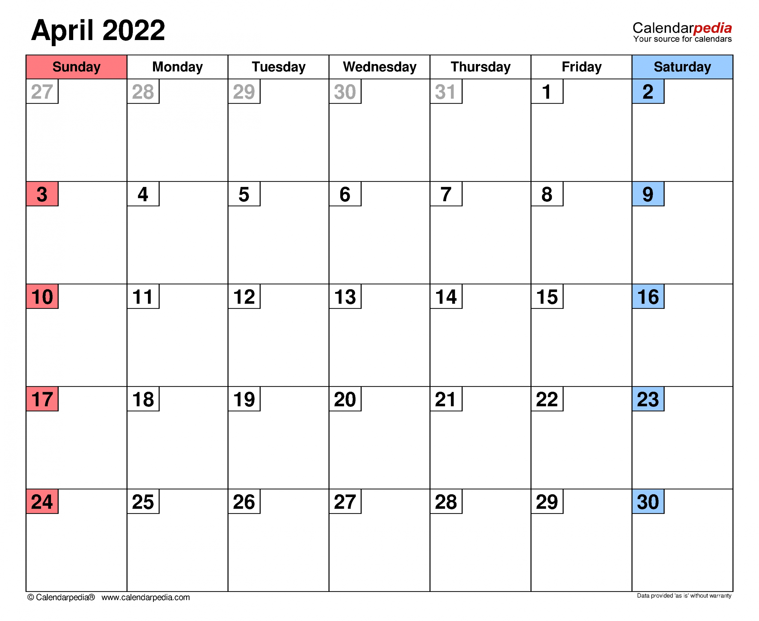 April 2022 Calendar | Templates For Word, Excel And Pdf