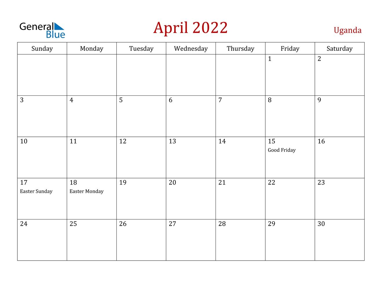 April 2022 Calendar - Uganda