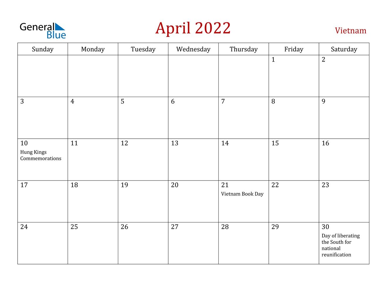 April 2022 Calendar - Vietnam