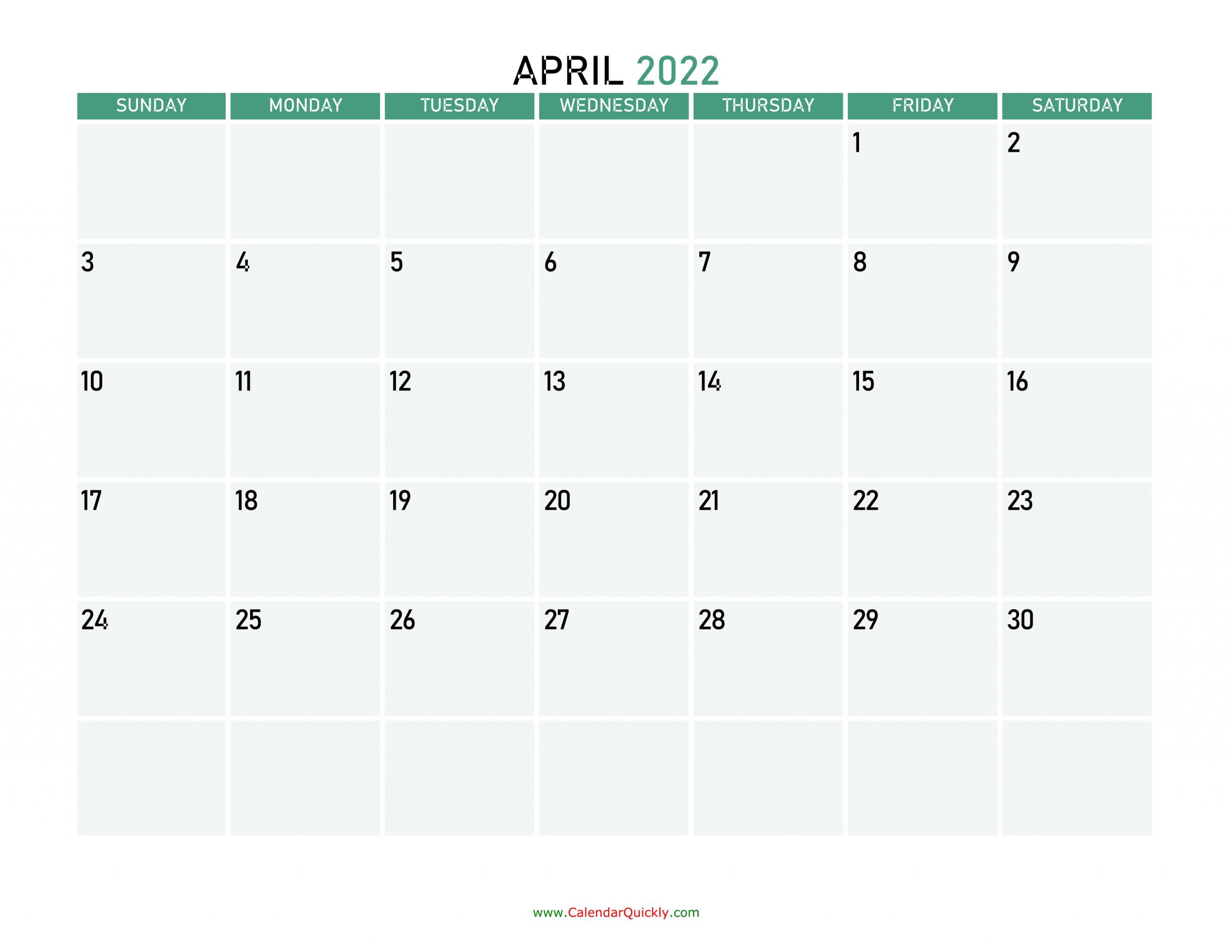 April 2022 Calendars | Calendar Quickly
