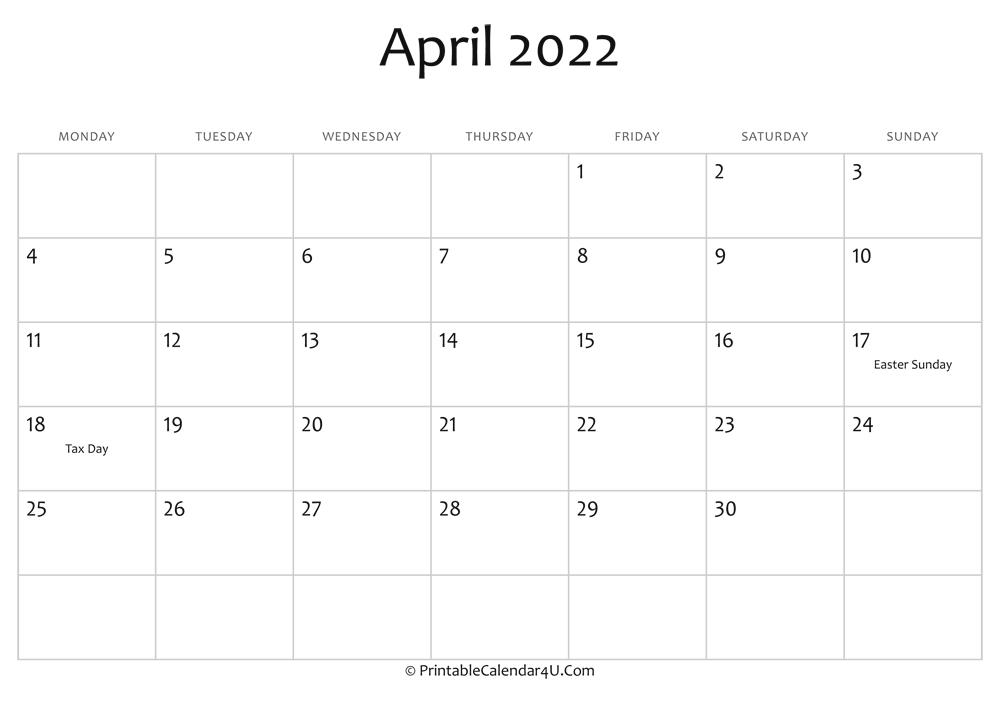 April 2022 Editable Calendar With Holidays