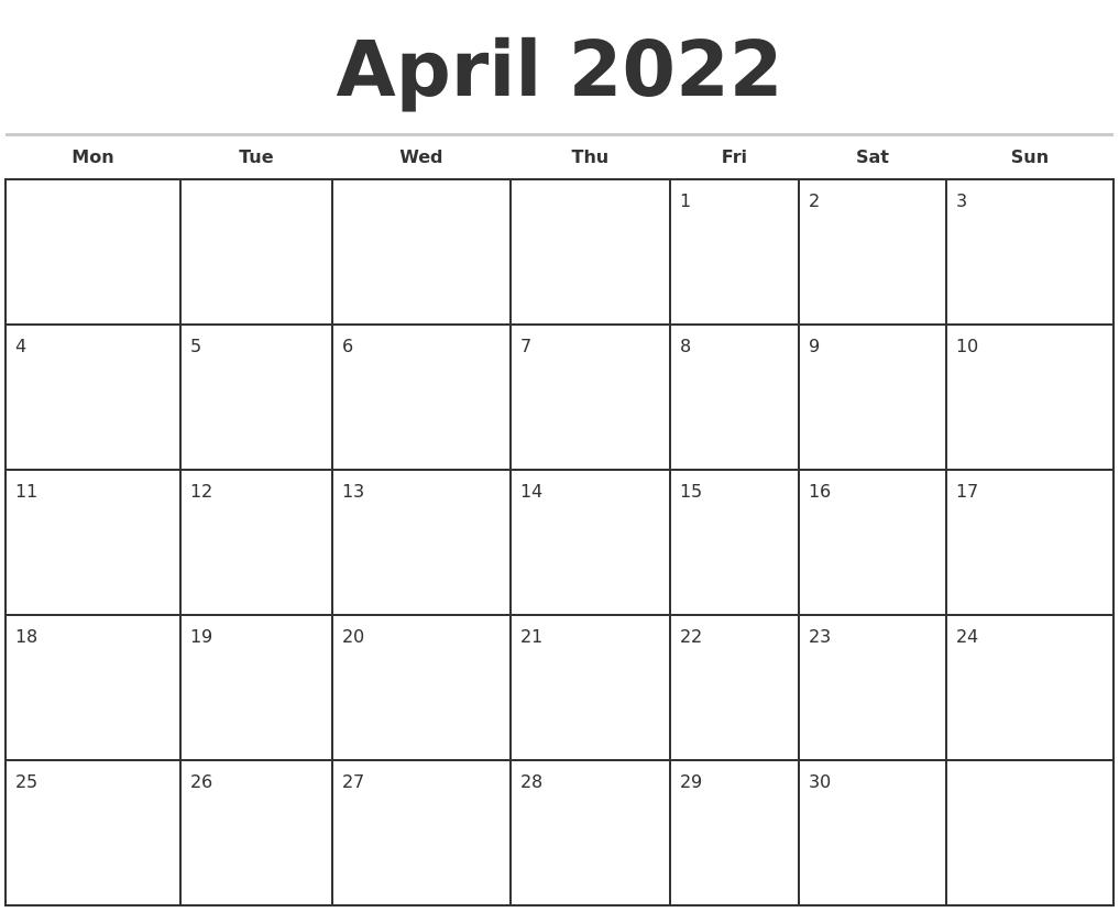 April 2022 Monthly Calendar Template
