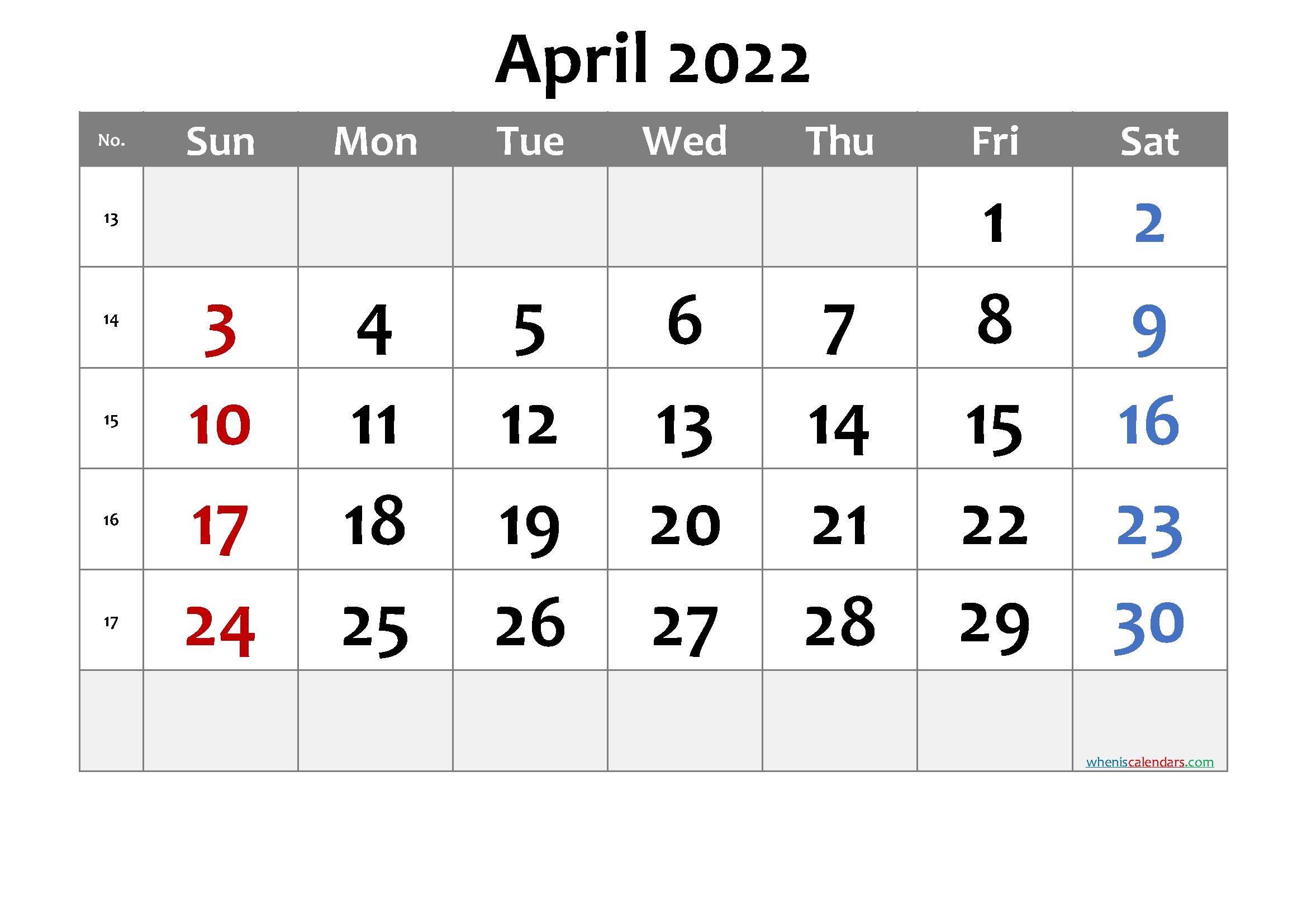 April 2022 Printable Calendar - 6 Templates