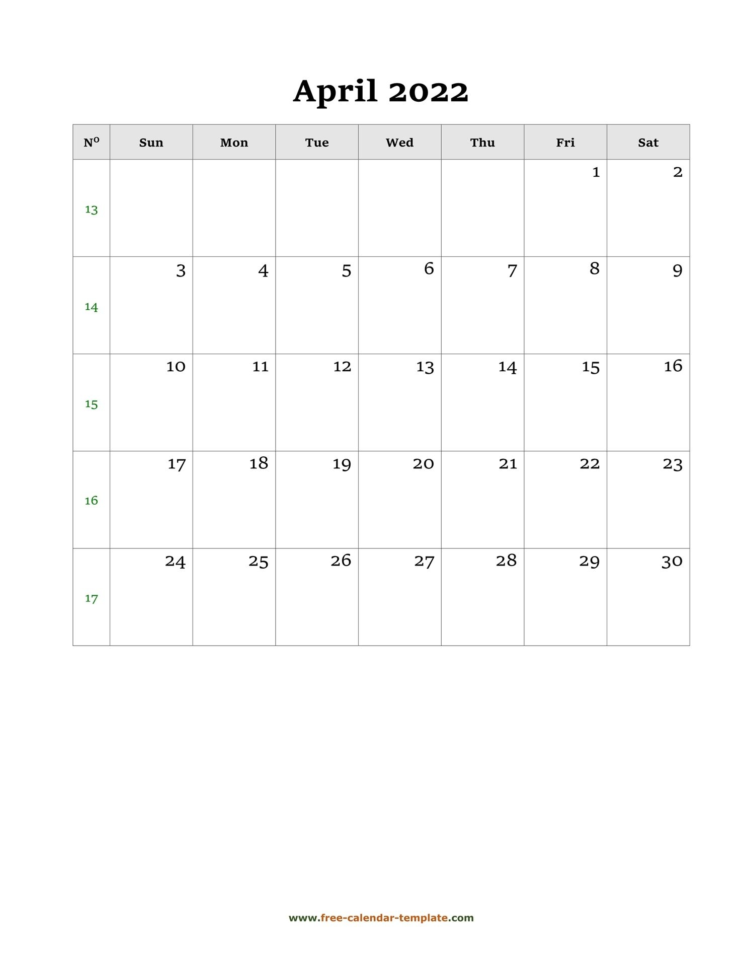 April Calendar 2022 Simple Design With Large Box On Each
