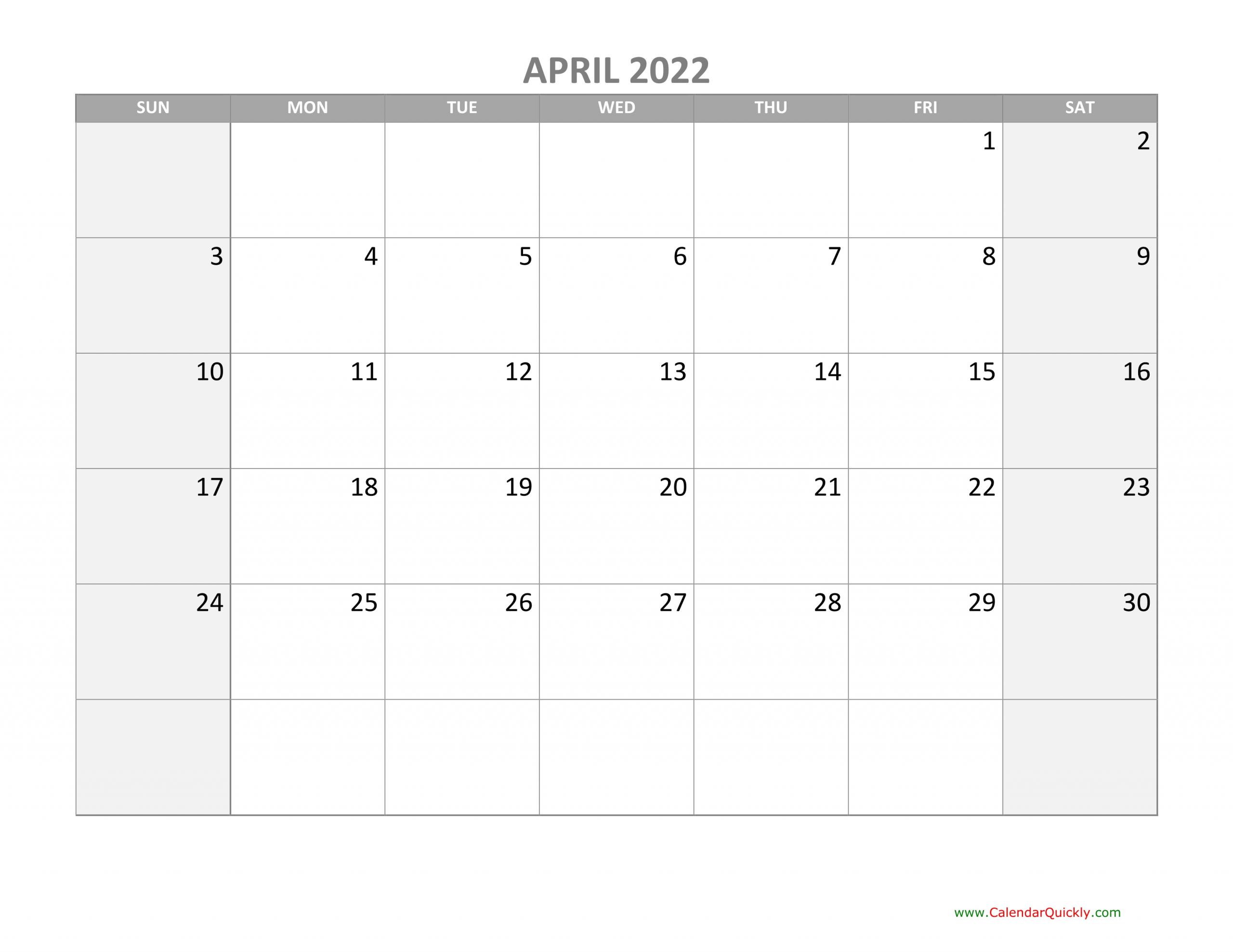 April Calendar 2022 With Holidays | Calendar Quickly
