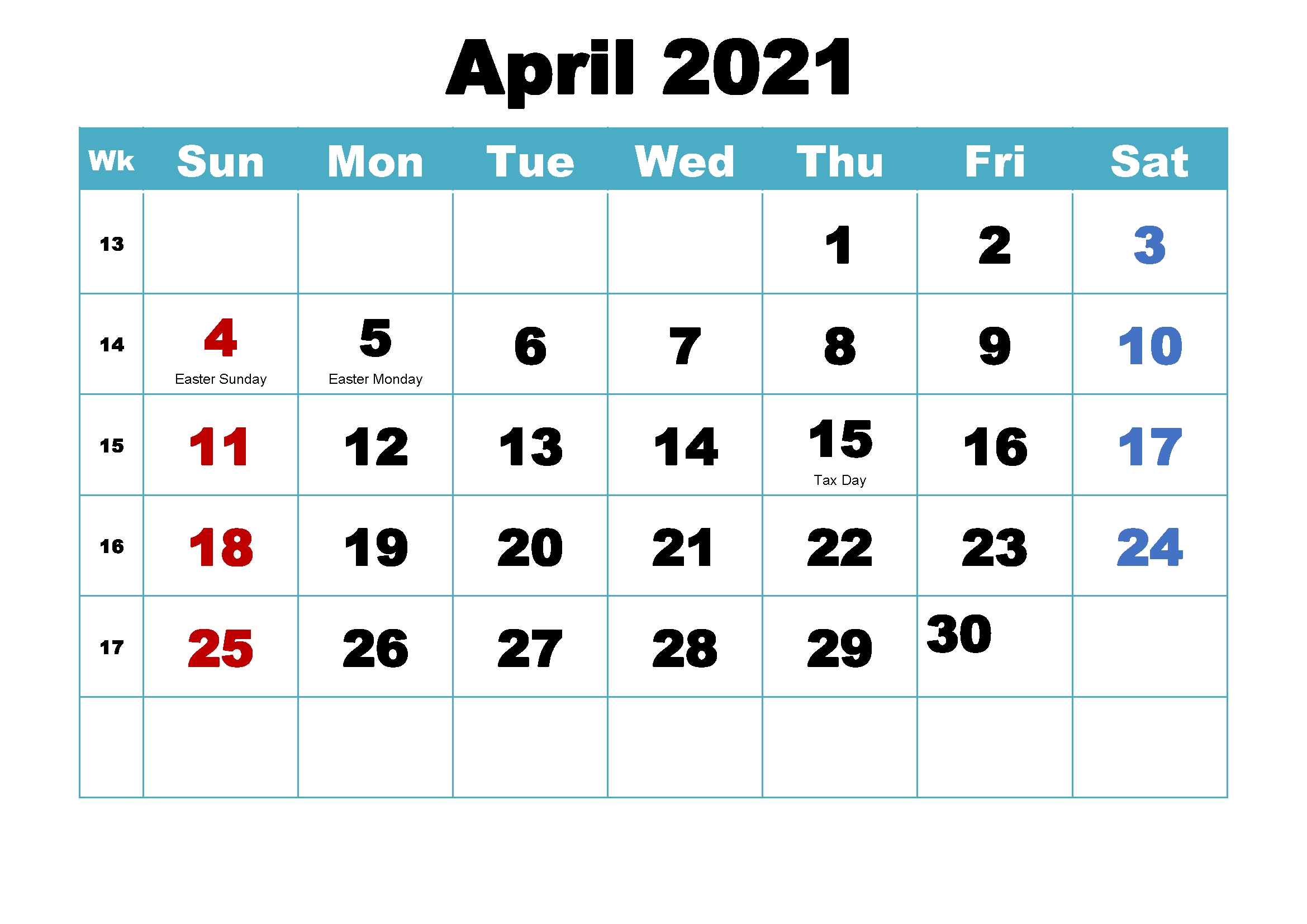 April Calendar For 2021   Printable March