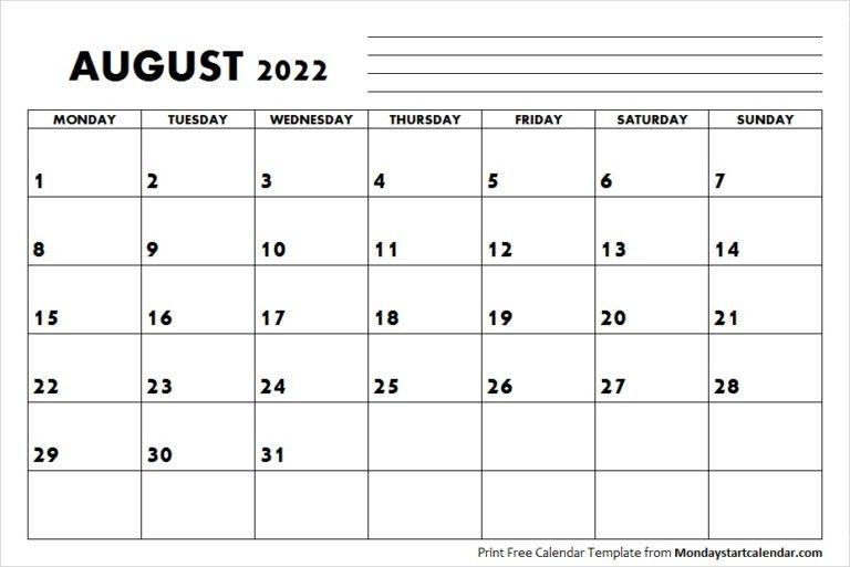 August 2022 Calendar Monday Start | August Month Template
