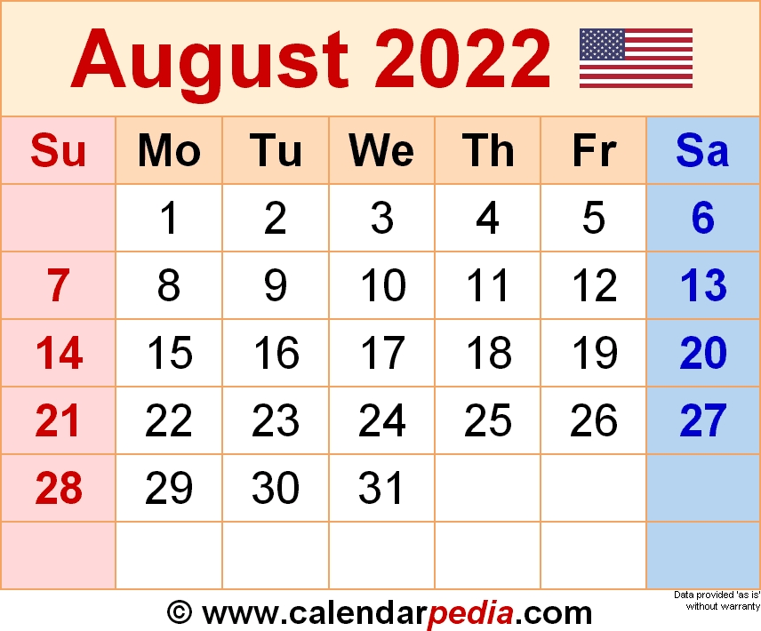 August 2022 - Calendar Templates For Word, Excel And Pdf