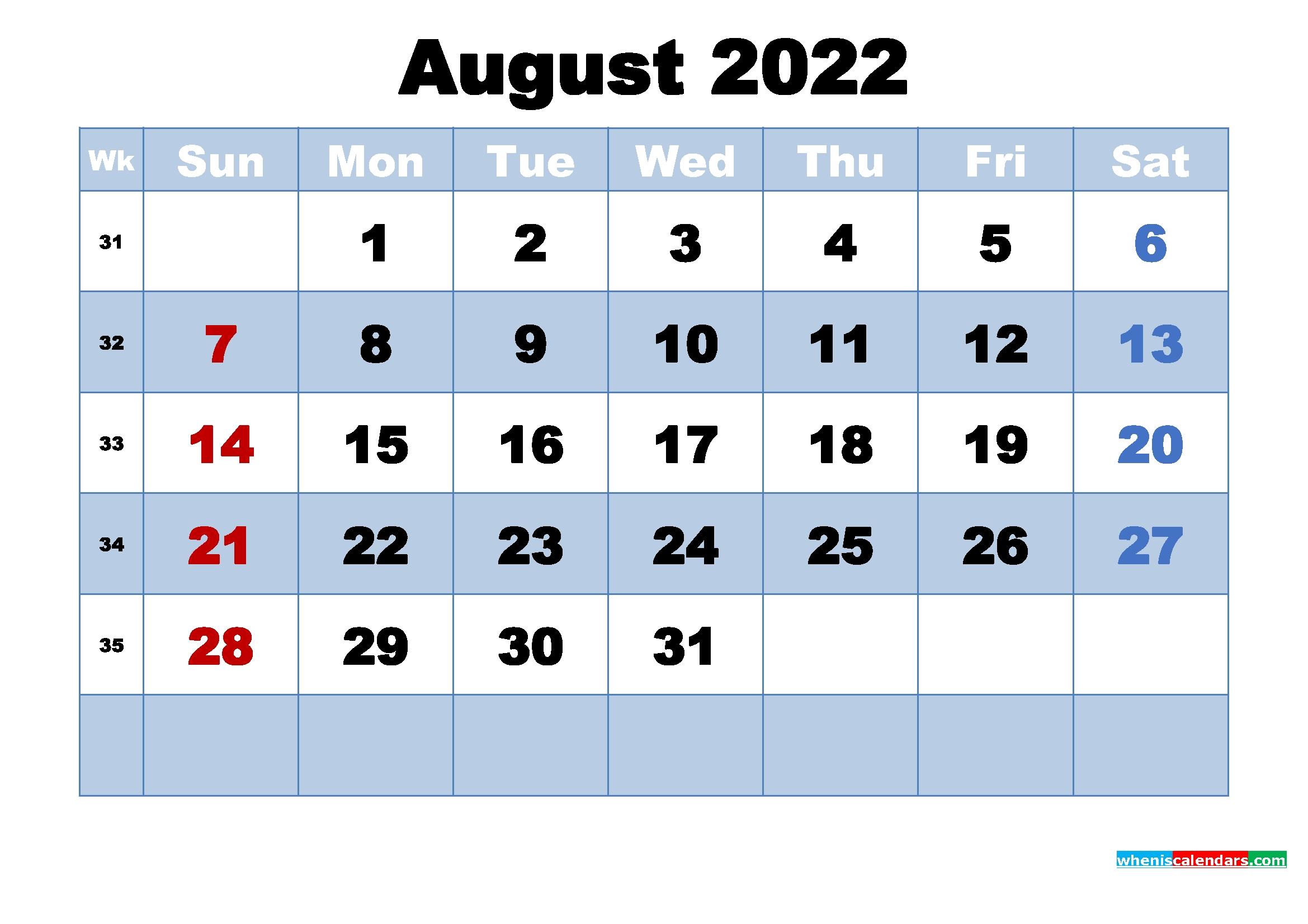 August 2022 Desktop Calendar Monthly