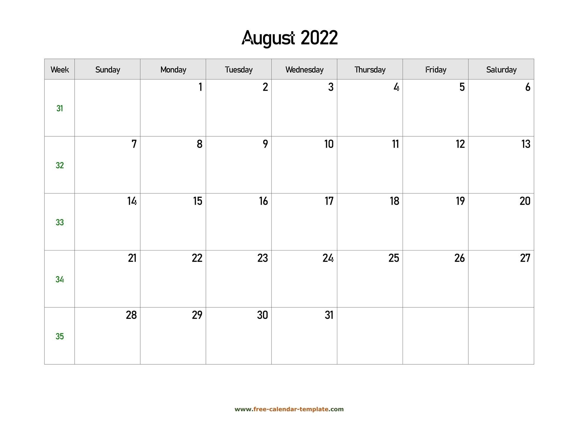 August 2022 Free Calendar Tempplate | Free-Calendar