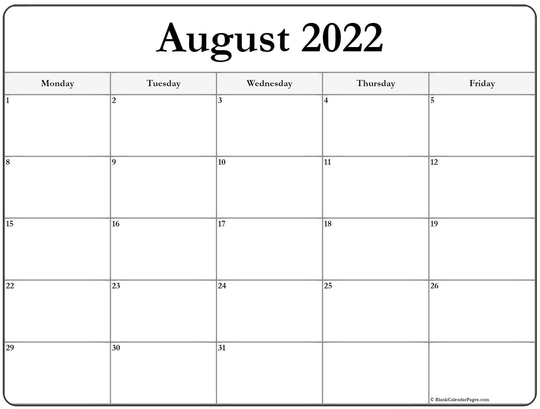 August 2022 Monday Calendar | Monday To Sunday