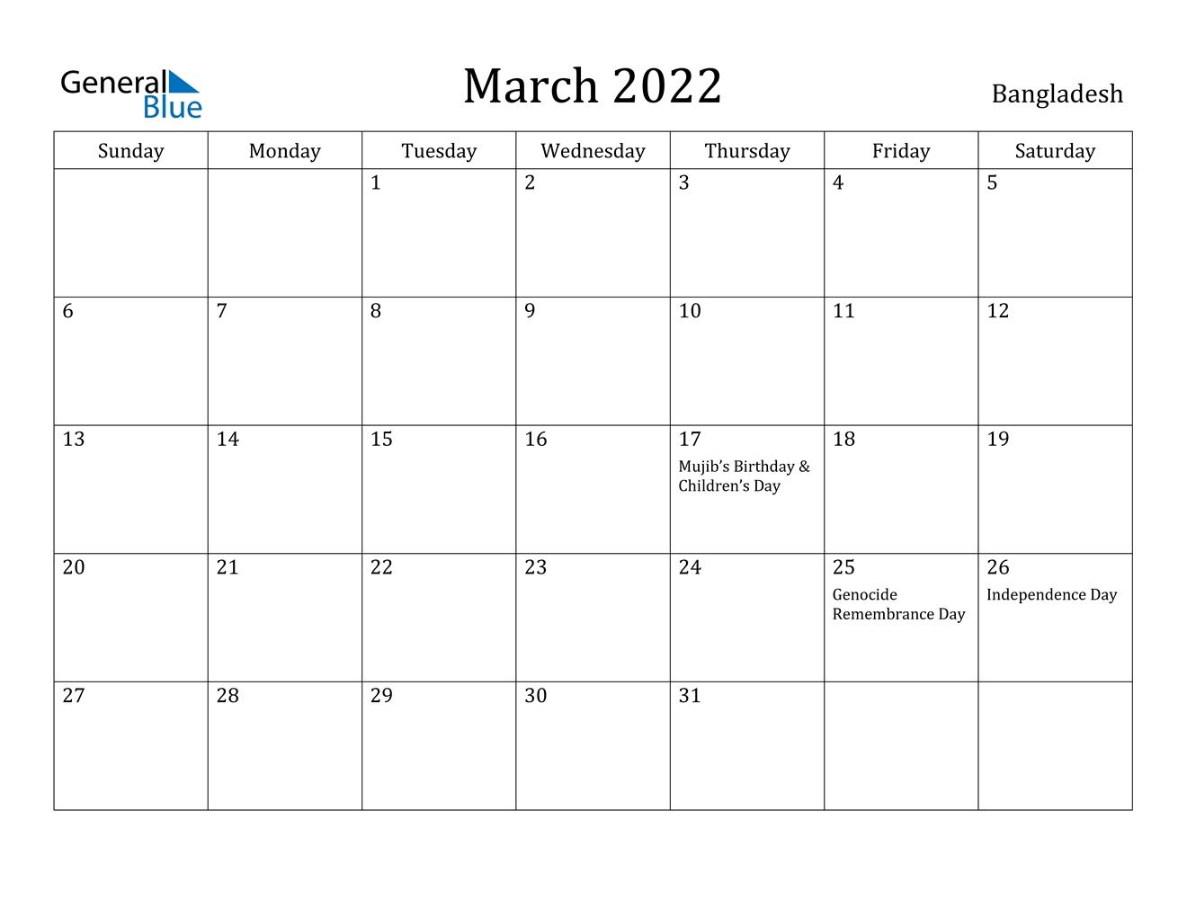 Bangladesh March 2022 Calendar With Holidays
