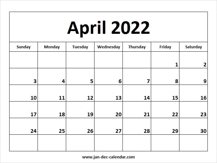 Blank Printable April Calendar 2022 Template Free