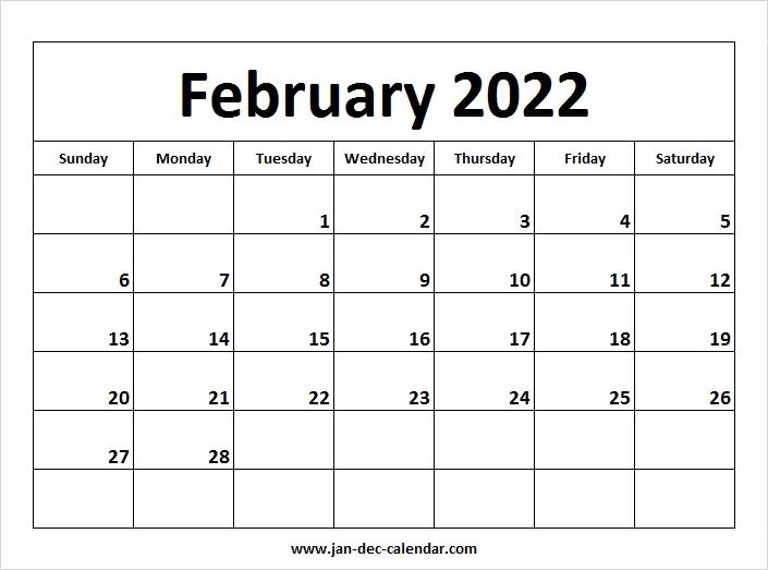 Blank Printable February Calendar 2022 Template Free
