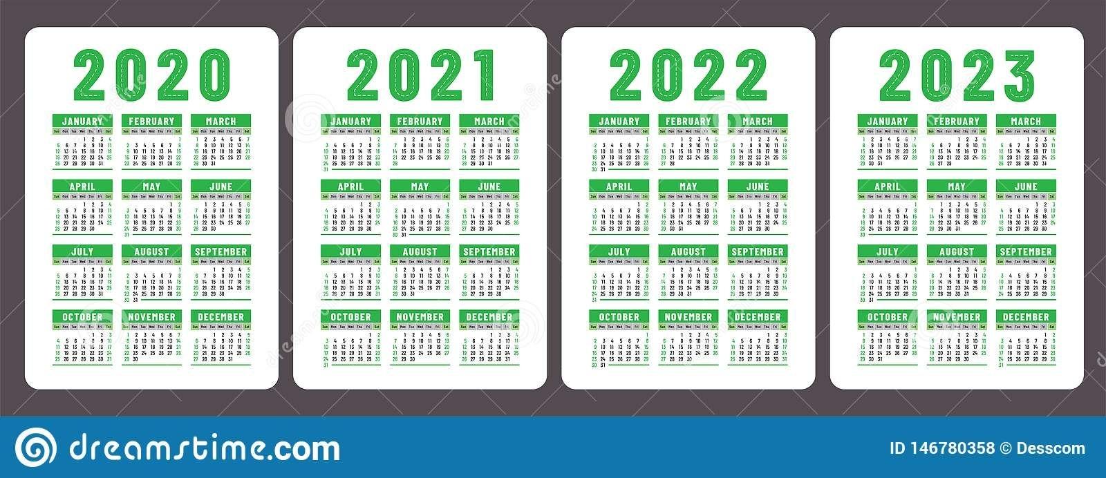 Calendar 2020, 2021, 2022 And 2023. English Color Vector