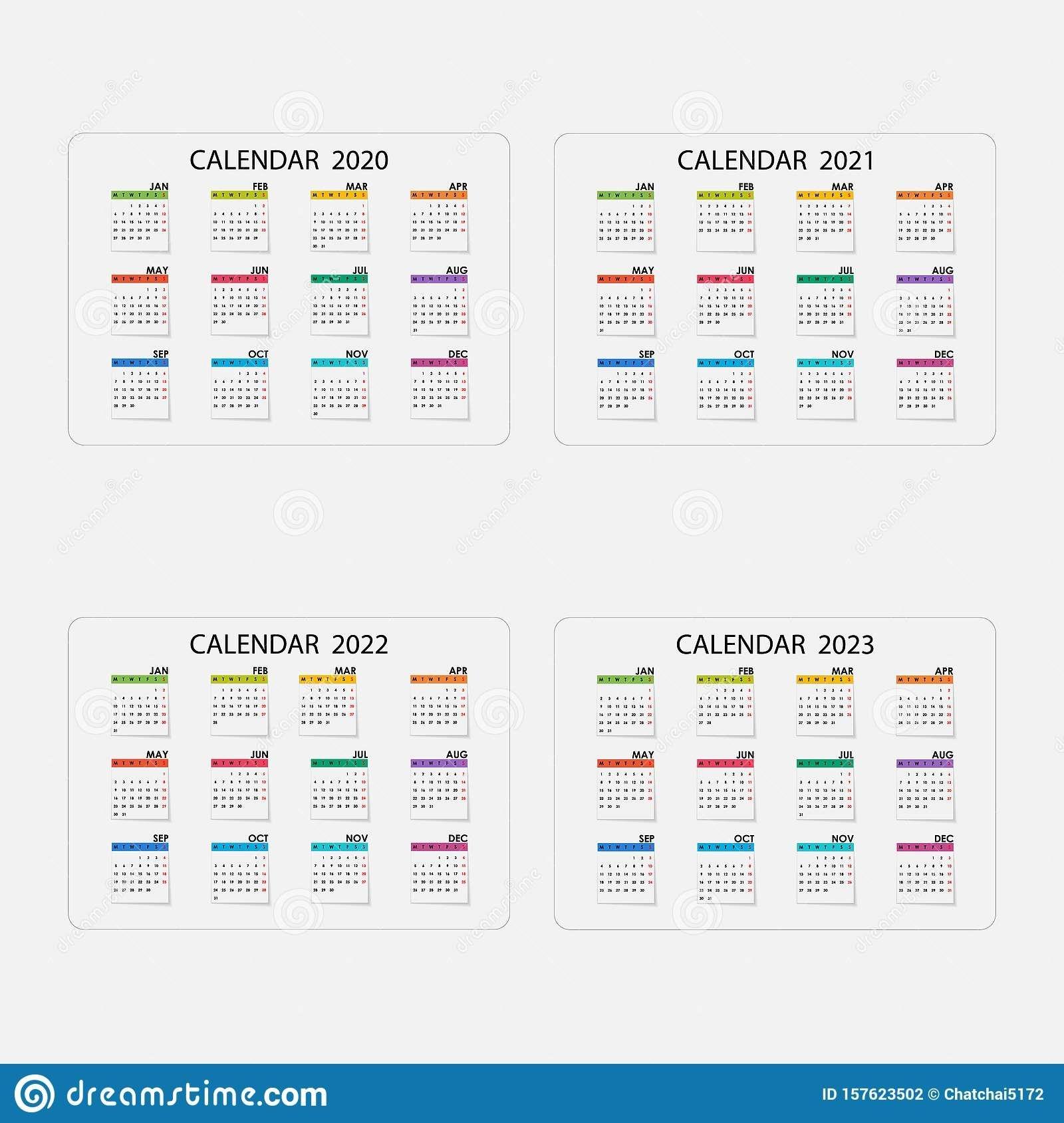 Calendar 2020, 2021,2022 And 2023 Calendar Template