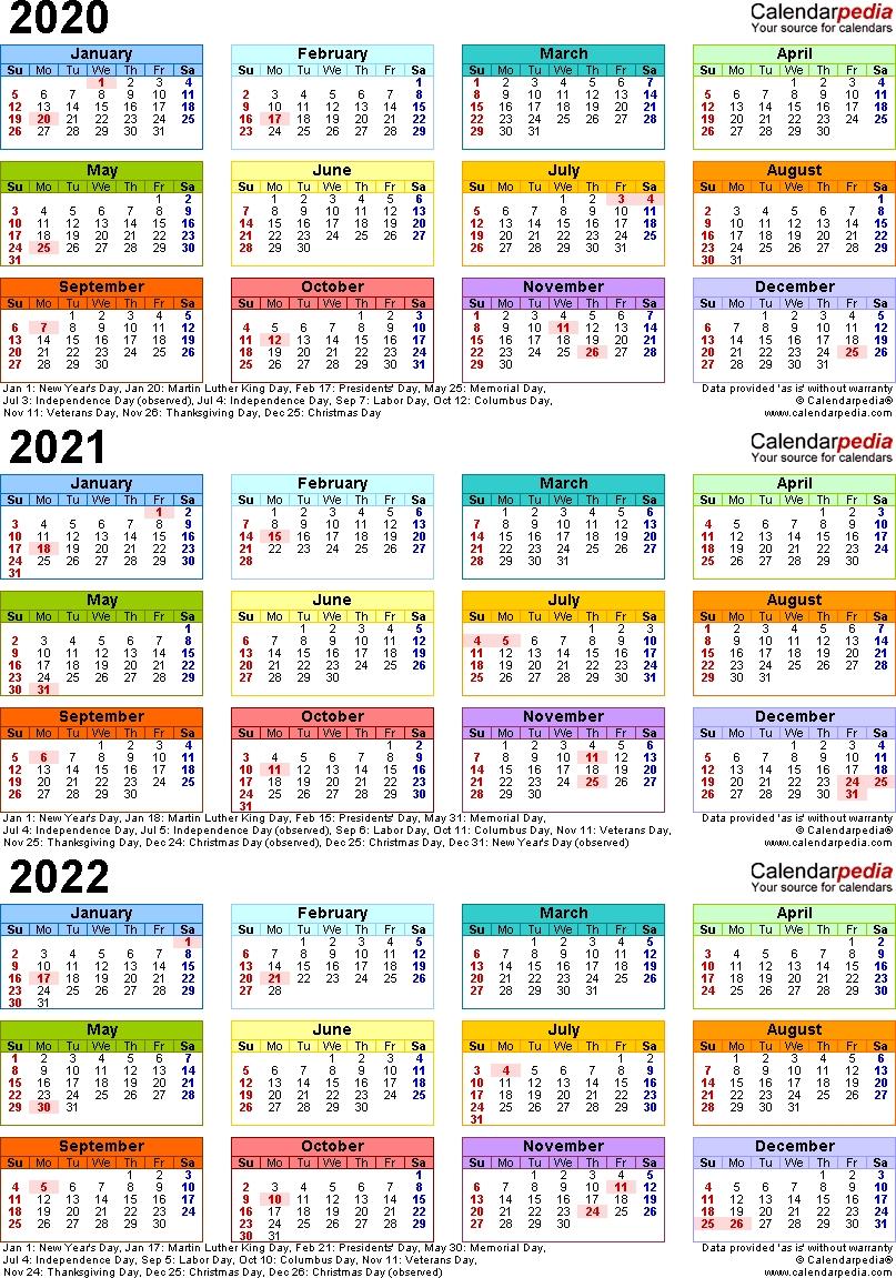 Calendar 2020 To 2022   Free Printable Calendar