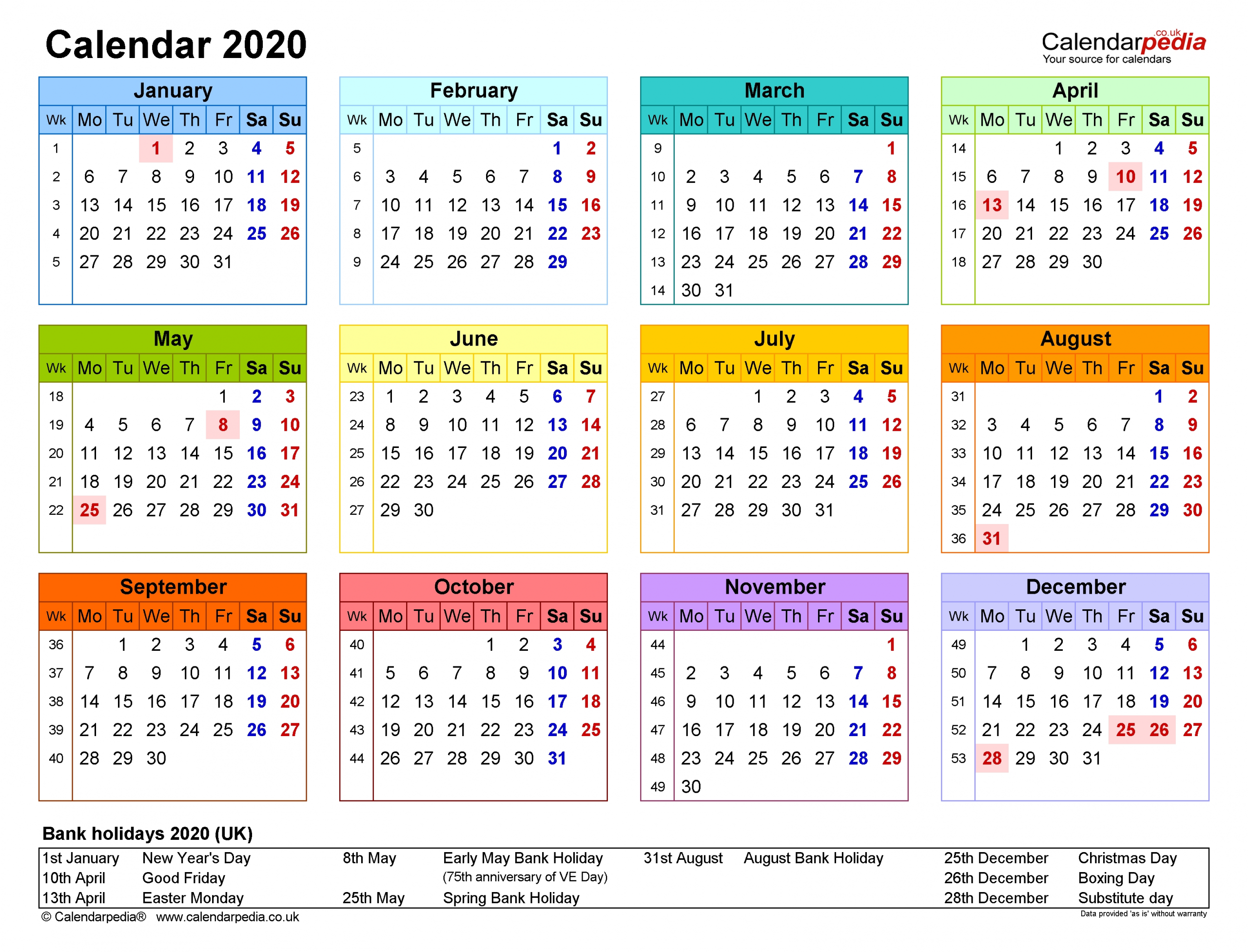 Calendar 2020 (Uk) - Free Printable Pdf Templates