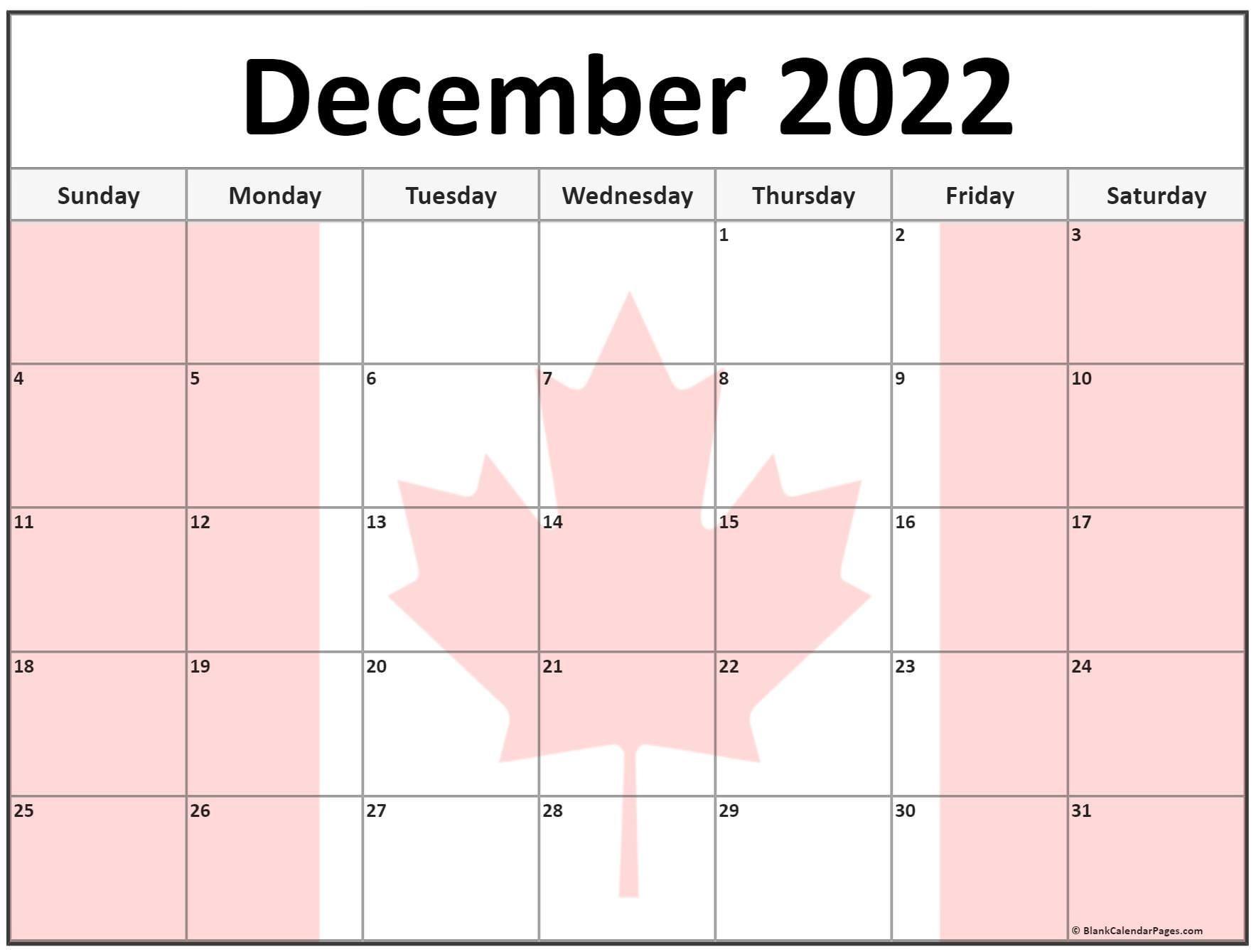 Calendar 2022 Canada Printable | Free Letter Templates