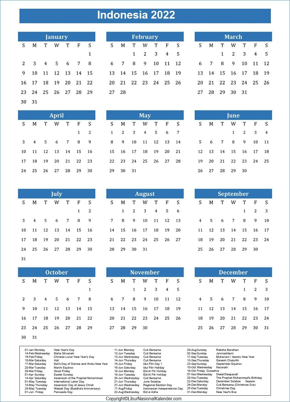 Calendar 2022 Indonesia   Public Holidays 2022