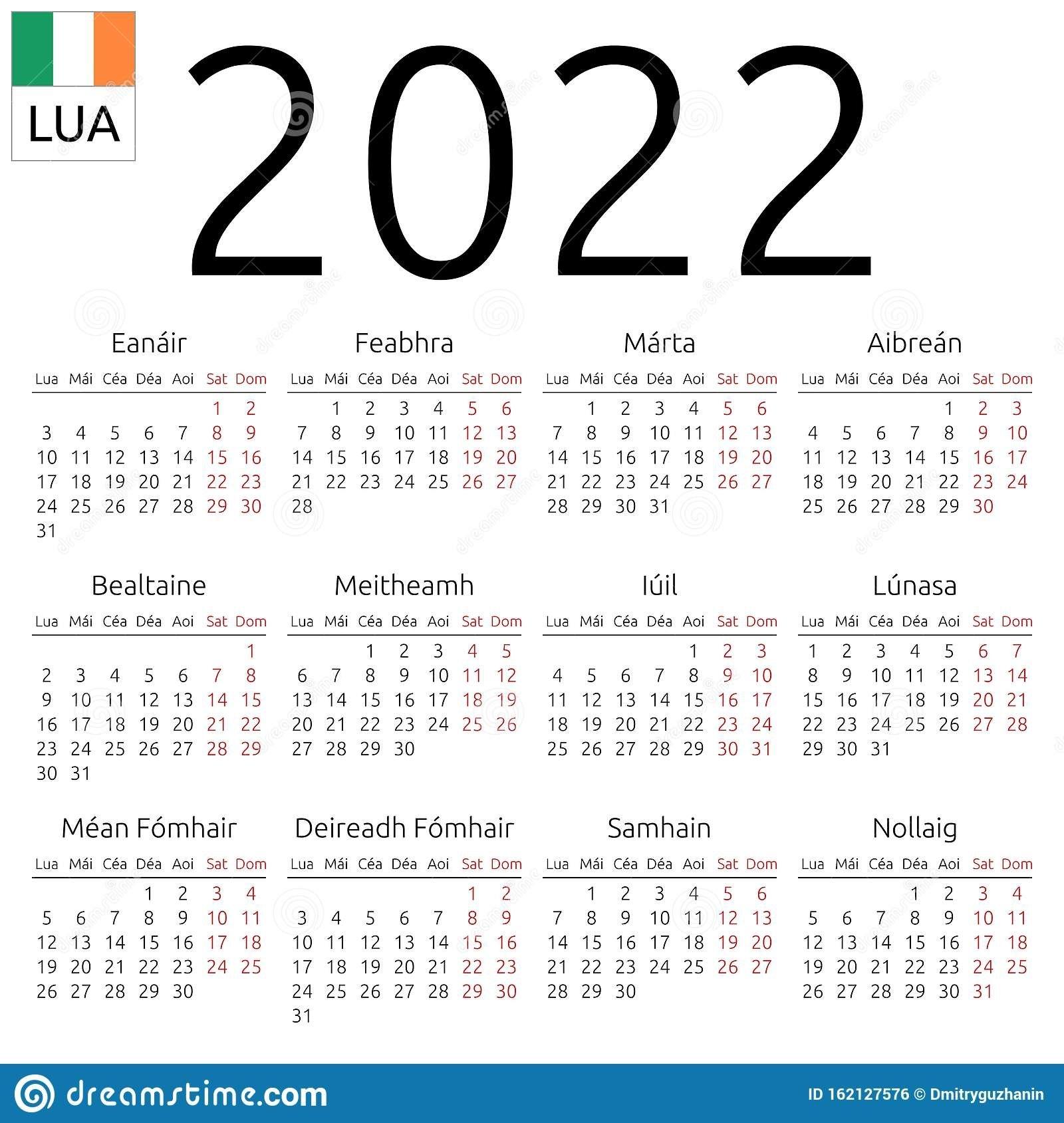 Calendar 2022, Irish, Monday Stock Vector - Illustration