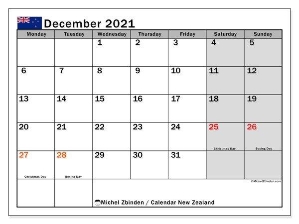 Calendar December 2021 - New Zealand - Michel Zbinden En