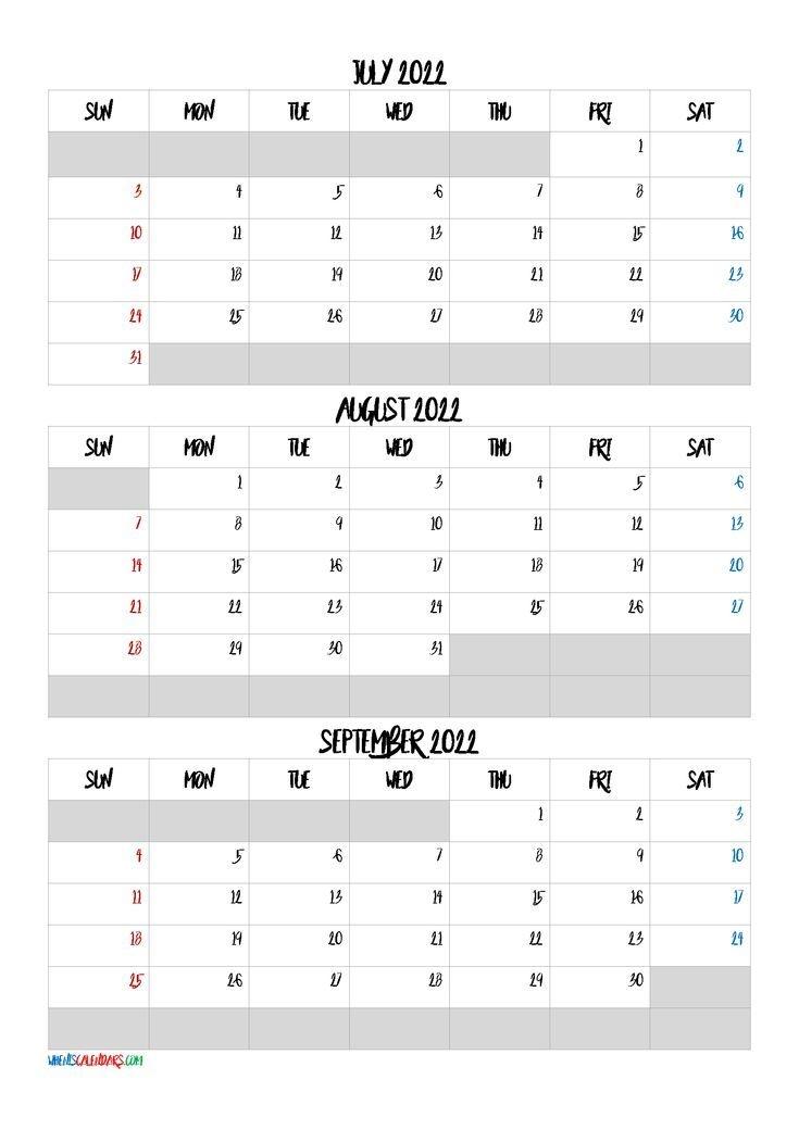 Calendar July August September 2022 [Q1-Q2-Q3-Q4