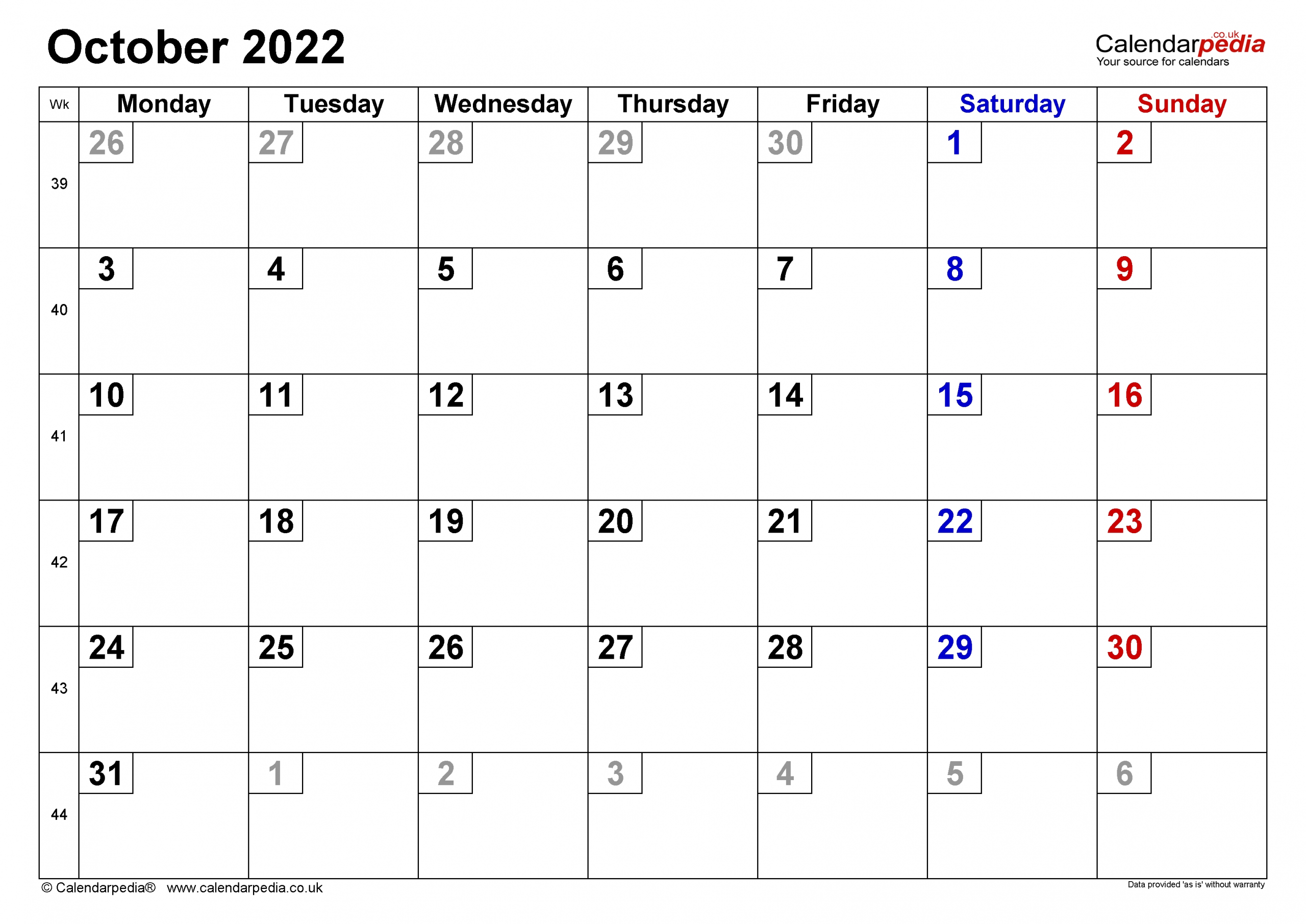 Calendar October 2022 Uk With Excel, Word And Pdf Templates