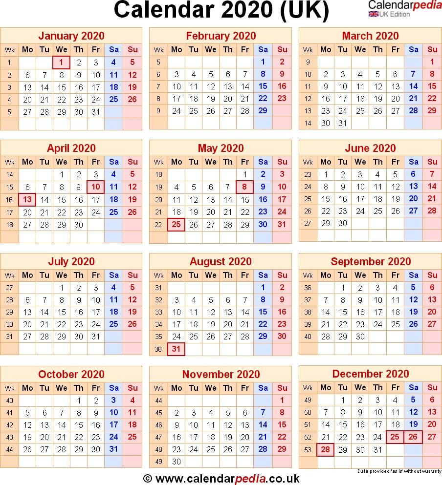 Calendar Week Numbers 2020 Uk   Calendar Printables Free